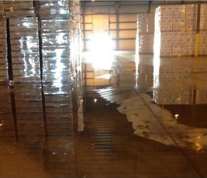 Warehouse with Pallets of Product Sitting in Flood Water