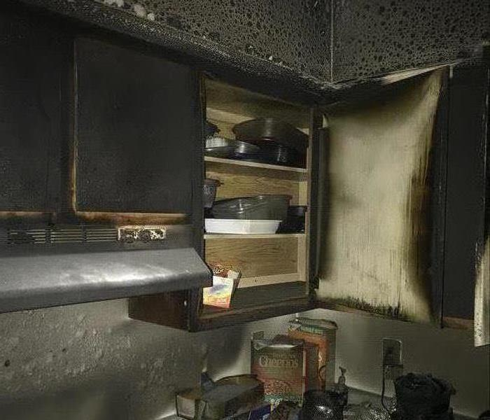 Corner of Kitchen Apartment Charred from Fire
