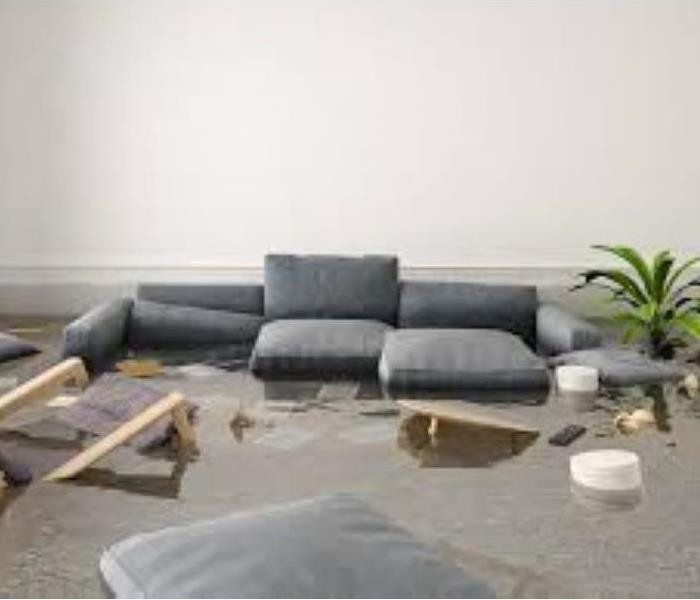 Living Room Furniture Floating in Floodwater