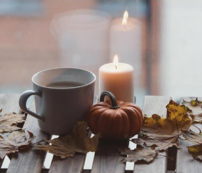 fall decor with candle