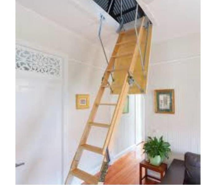 Room with Drop Down Ladder Open to Attic